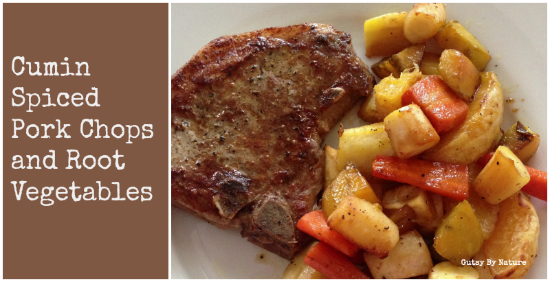 Cumin Spiked Pork Chops and Root Vegetables
