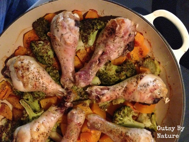 Roast chicken with squash and broccoli