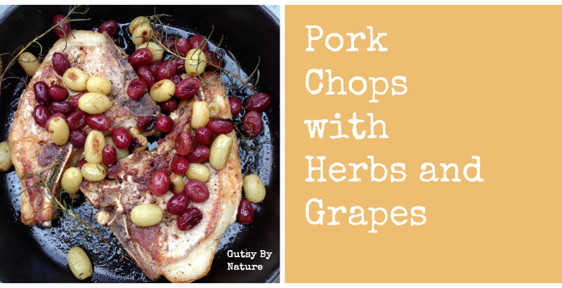 pork chops with herbs and grapes