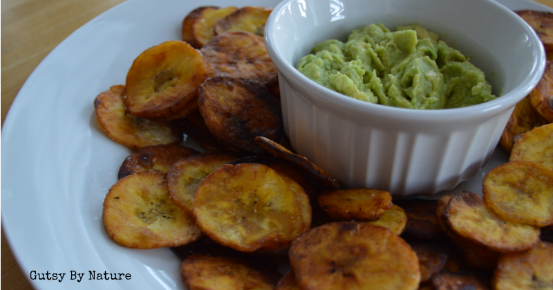 Paleo Plantain Chips and Guacamole